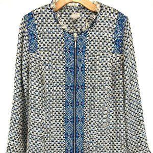Chicos Womens Tweed Jacket Zipper Blazer Blue 12